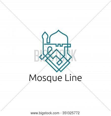 Islam Mosque Worship Muslim Center Community Line Symbol Logo Template