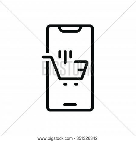 Black Line Icon For Ecommerce Browsing Spending Purchasing Mobile Trolly Online-shopping Digital Sup