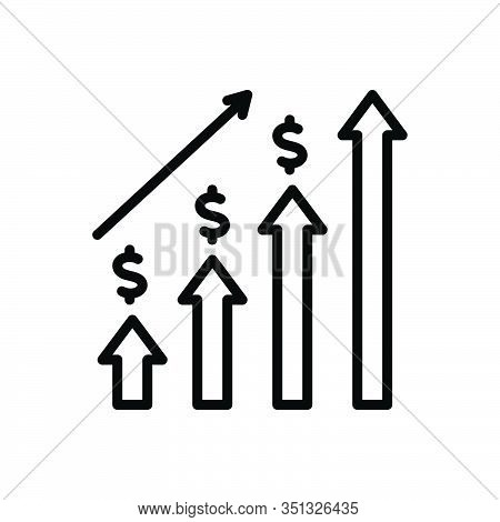 Black Line Icon For Economic-investment Graph Progress Budgetary Monetary Commercial Fiscal Venture