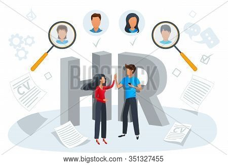 Vector Illustration Concept Of Human Resources, Recruitment. Employment Process, Choosing A Candidat