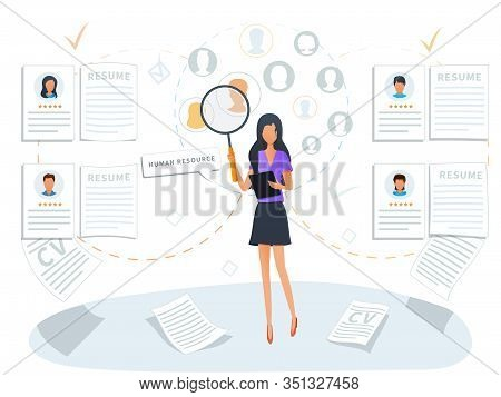Concept Of Human Resources And Recruitment Service. Employment Process. Recruiter Searching For Cand