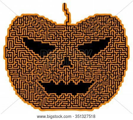 Illustration Weird Maze Like A Halloween Pumpkin