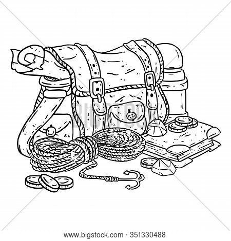 Adventurer Pack Lineart Illustration For Coloring. Fantasy Character Pouch With Explorer Items. Trea
