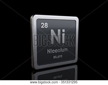 Nickel Ni, Element Symbol From Periodic Table Series. 3d Rendering Isolated On Black Background