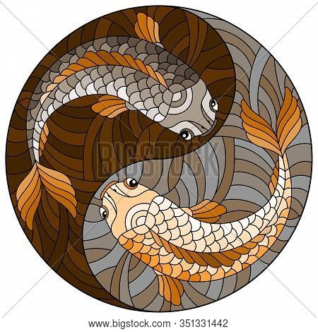 Illustration In Stained Glass Style With Two Fishes In The Form Of The Yin Yang Sign, Round Image, T