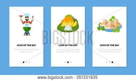 Traditional Cookery Flat Icon Set. Meat, Fruit, Barbecue Isolated Vector Sign Pack. Culinary And Coo