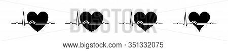 Set Heartbeat Icons Black