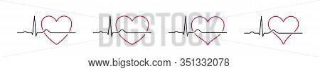 Set Heartbeat Icons Red 2 Contour