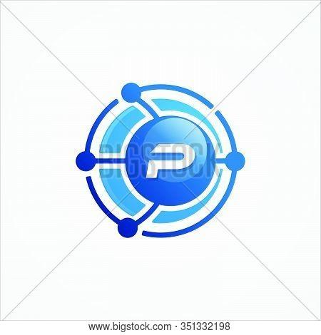 Technology Design Vector Orbit With Letter P Symbol Design Minimalist. Letter P For Your Best Busine