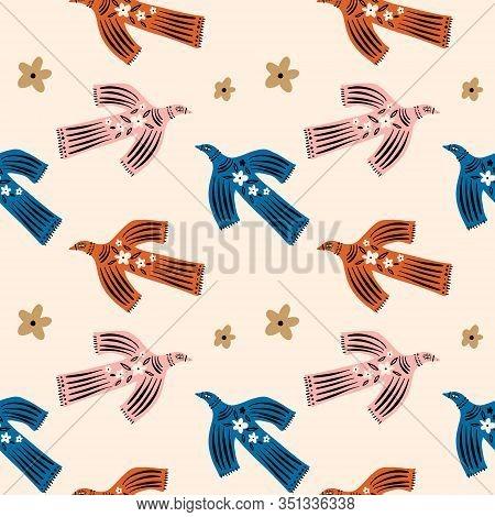 Vector Funny Hand Drawn Abstract Bird Ilustration, Scandinavian Style Kid Poster, Nursery Wall Desig