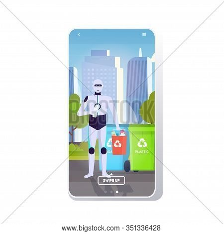 Robotic Character Holding Plastic Rubbish Container Near Colorful Trash Cans Artificial Intelligence