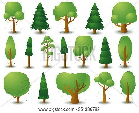 Big Set Of Vector Silhouettes Of Deciduous And Coniferous Trees. Game Ui Flat. Stylized Spruce For L
