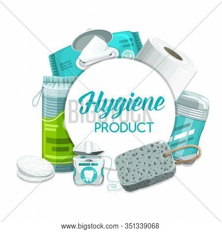 Hygiene Products And Personal Health Care Toiletries, Daily Use Cosmetics Vector Items. Wet Towels,