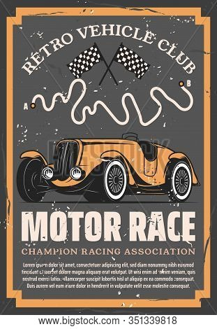 Retro Sport Car With Auto Racing Flags And Motorsport Racetrack Vector Design. Vintage Vehicle Club,