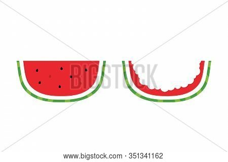 Vector Cartoon Style Watermelon Slice And Watermelon Rind Isolated On White Background.