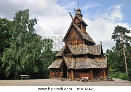 Gol stave church in Folks museum Oslo old wooden church Not Editiorial! poster
