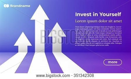 Invest In Yourself - Web Template In Trendy Colors. Business Arrow Target Direction To Growth And Su
