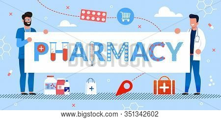 Drugstore Service Advert. Happy Pharmacist Doctor Holding Pharmacy Poster With Letters Mad From Medi