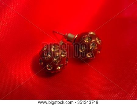 Beautiful Earrings In The Form Of Balls With Rhinestones And Stones. Stud Earrings As A Gift To A Gi