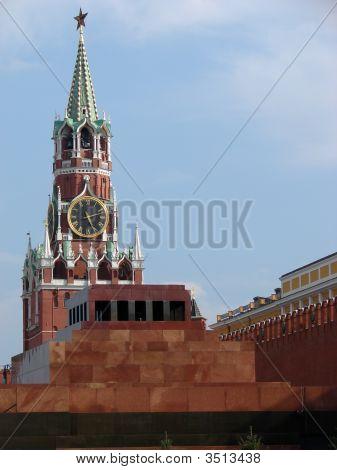 Lenin Mausoleum And Kremlin`S Tower