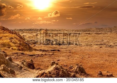 Abstract Apocalyptic Incredible Landscape Of Dallol Desert Situated In The Afar Triangle, Land Like
