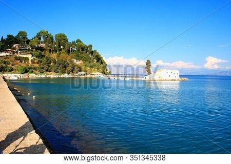 Church On Corfu Island In Greece On Sea