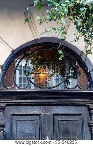 London, England - September 21, 2018: Sherlock Holmes Famous Front Door Address 221b Baker Street, L