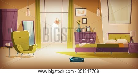 Automatic Wireless Vacuum And Window Cleaners Working In Bedroom With Bed And Furniture. Empty Apart