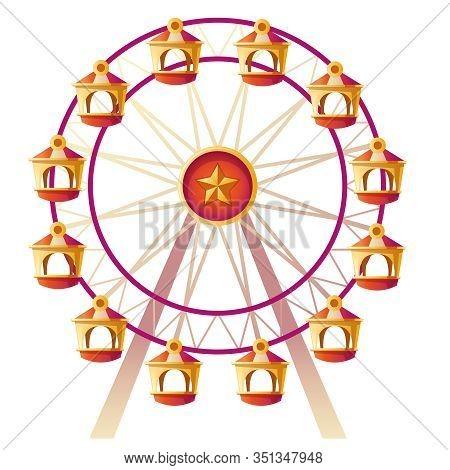 Ferris Wheel. Vector Illustration Of Carousel On Carnival Funfair, Amusement Park. Cartoon Icon Of E