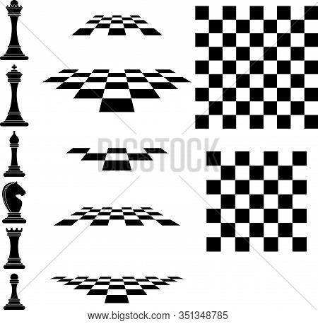Set Chess Icons And Chessboard. King, Queen And Rook, Bishops, Knights And Pawn. Board Logic Game, H