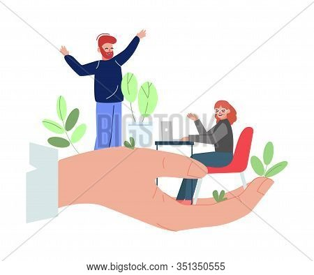 Office Workers On Giant Hand, Office Staff Care, Support, Professional Growth, Personnel Perks And B