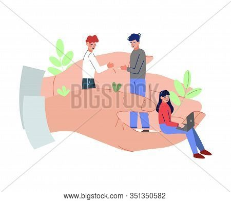 Giant Hands Holding Tiny Business People, Office Emloyees Protection, Professional Growth, Personnel