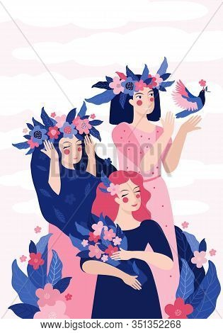 Vertical Template For Spring Banner, Card, Poster Design. Beautiful Women In Wreaths Of Flowers And