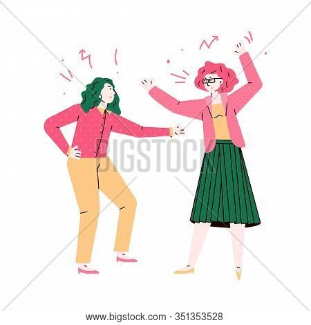 Furious Women Fighting And Quarrelling Sketch Vector Illustration Isolated.
