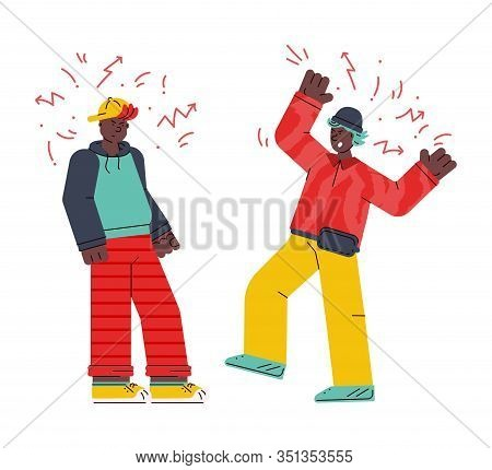 Men Characters Fighting And Quarrelling Sketch Vector Illustration Isolated.