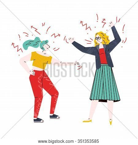 Cartoon Girls In Conflict - Two Angry Enemies Shouting At Each Other