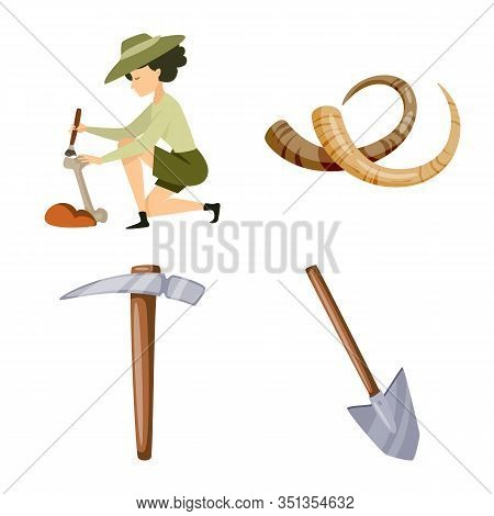 Vector Illustration Of Archaeology And Historical Symbol. Collection Of Archaeology And Excavation S