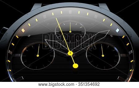 A Closeup Of A Modern Sports Watch With Elegant Black And Chrome Finishes And Yellow Accents On A Da