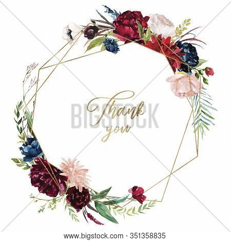 Watercolor Floral Illustration - Burgundy Flowers Wreath / Frame With Gold Geometric Shape, For Wedd