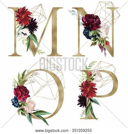 Floral Alphabet Set - Letters M, N, O, P, With Flowers Bouquet Composition And Delicate Gold Geometr
