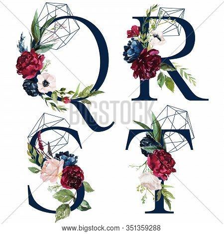 Floral Alphabet Set - Letters Q, R, S, T, With Flowers Bouquet Composition And Delicate Navy Geometr