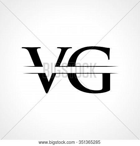 Creative Letter VG Logo Vector Template With Black Color. VG Logo Design