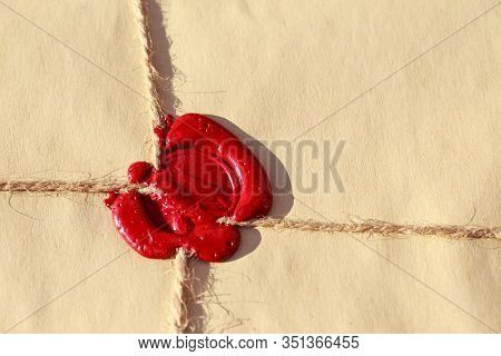 Parcel With Wax Seal A Close Up