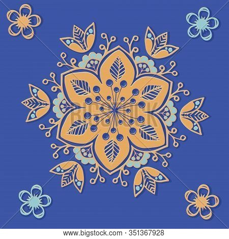 Beautiful Oriental Ornament With Volume Effect In Azure And Gold Tones