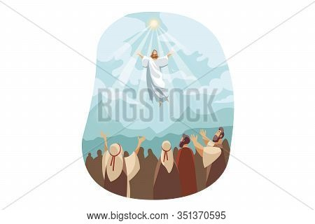 Ascension Of Jesus Christ, Bible Concept. Illustration Of Resurrection Jesus Christ. Sacrifice Of Me