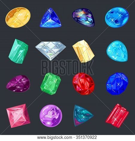 Assortment Of Jewelry, Gem Shop. Big Vector Set With Red, Yellow, Pink, Blue, Green, Purple Minerals