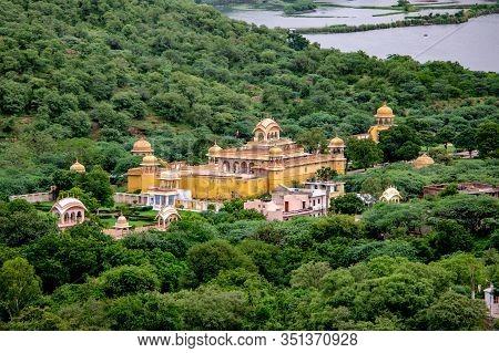 Ancient Natwar Ji Ka Mandir Temple In Jaipur, India Near Man Sagar Lake Which Is In A Background