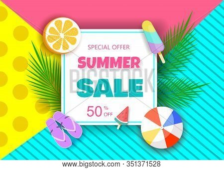 Summer sale vector banner design for promotion with colorful beach elements in bright background. Hello Summer, summer time, summer day, summer day background, summer banners, summer flyer, summer design, summer with people in the pool, vector illustratio