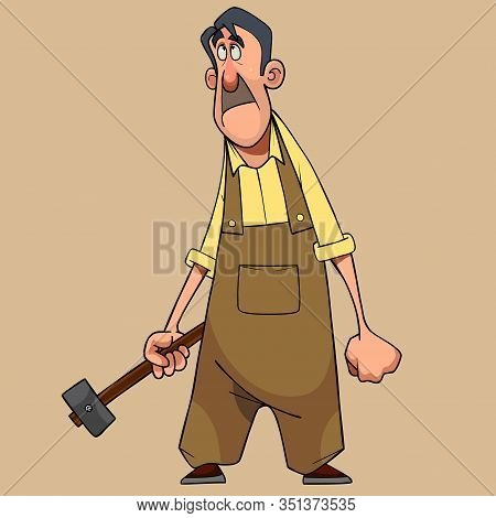 Cartoon Man In Overalls With Hammer In His Hand Looks Upstairs In Surprise