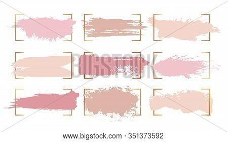 Ink Paint Brush Strokes, Vector Abstract Watercolor Blobs And Splashes Background. Light Blobs Of Pi